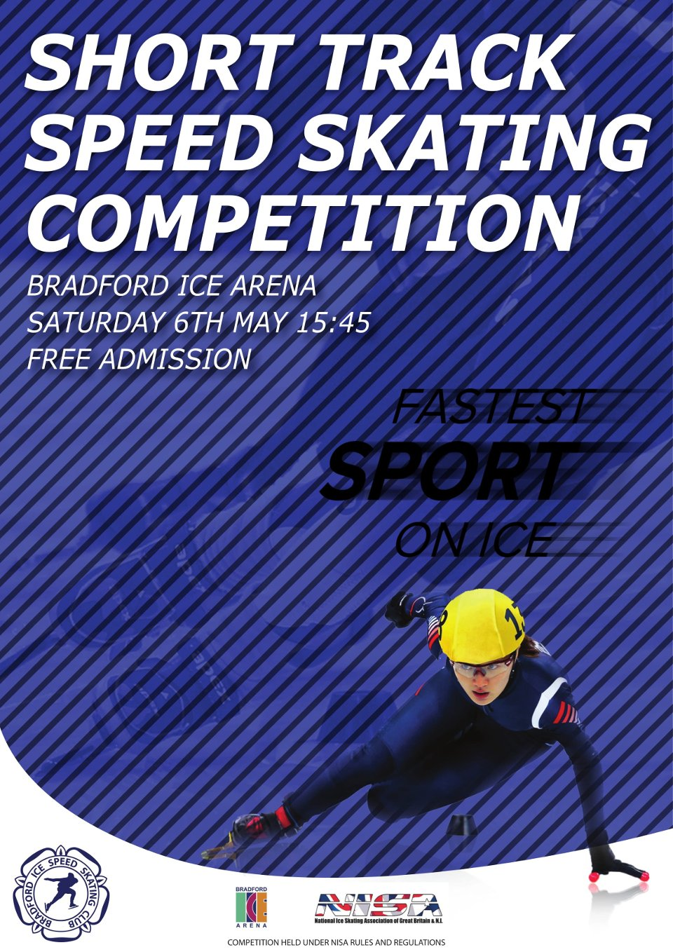 a busy looking flyer featuring a female ice skater