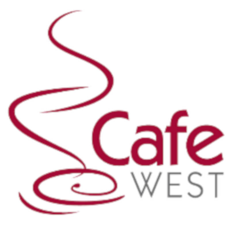 logo of an outline of a steaming red cup of coffee