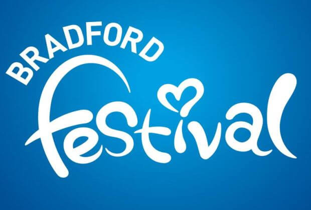 Bradford Festival logo is white letters on blue background