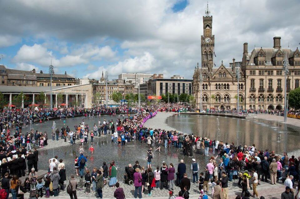 Aerial view of Bradford's Mirror Pool