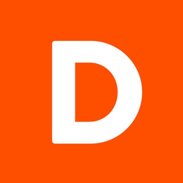 A large, rounded, capital D in white over an orange square logo