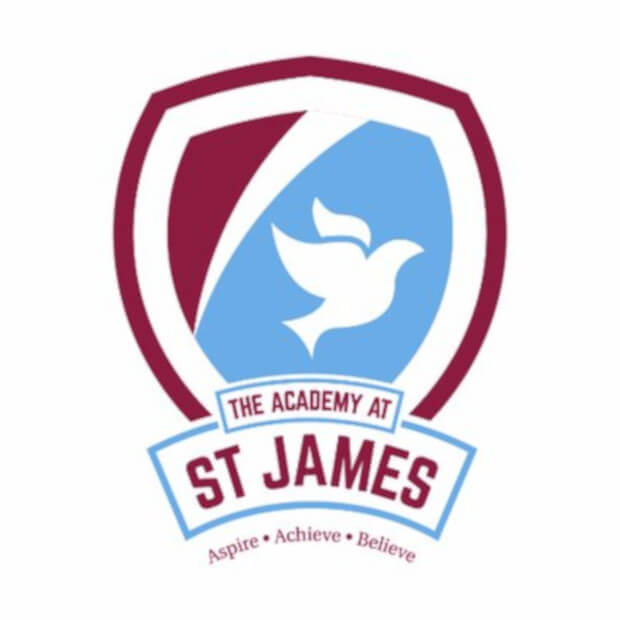 School logo with colours of pastel blue and dark maroon