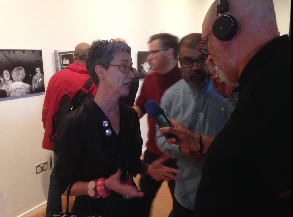 Dipak and Pete chatting to Anne McNeill, Director of Impressions Gallery