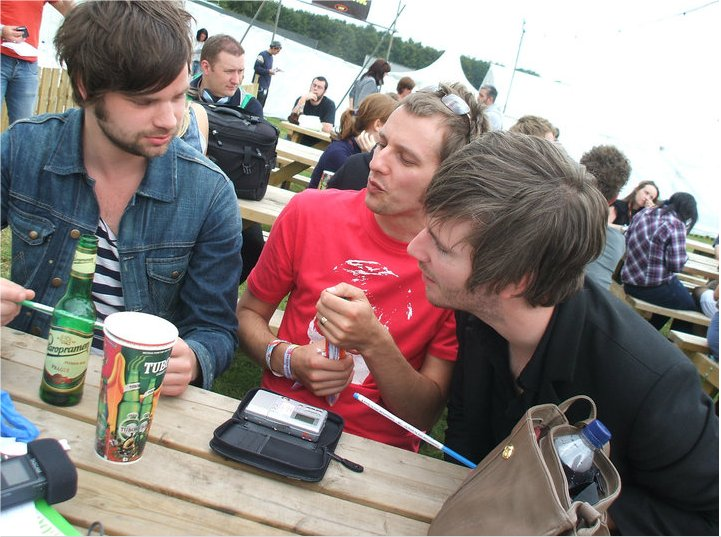 Me with Dave (left) and Jaff from The Futureheads.  I don't remember spitting on him, but this photo suggests I may have.  If I did I assure you it was an accident.