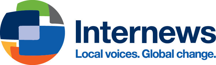Internews logo, many colours over a globe-like thing