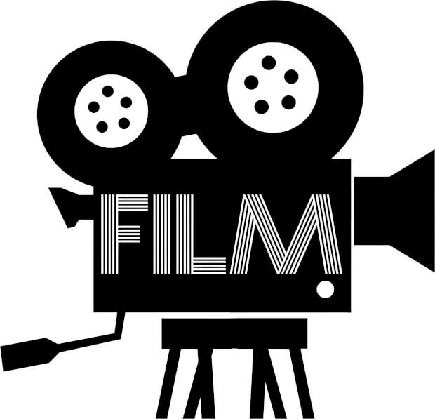 Old school camera graphic with the word FILM written over it