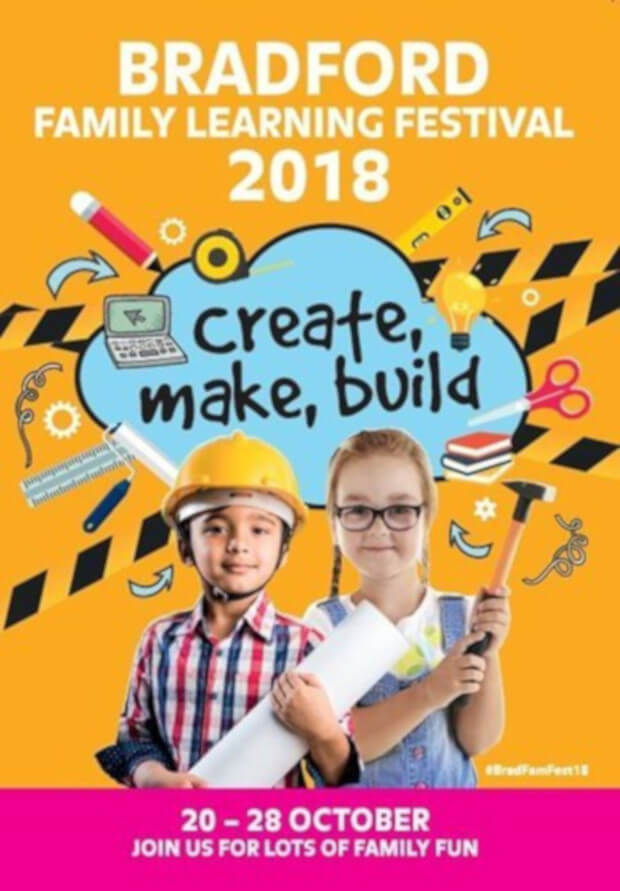 Poster design featuring 2 young kids, a boy wearing a hard hat and a girl holding a hammer