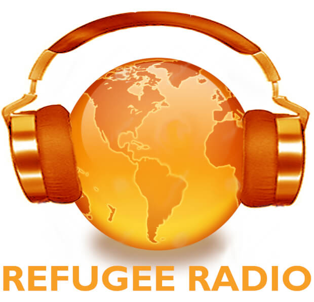 Refugee Radio is a pair of golden headphones over a golden globe