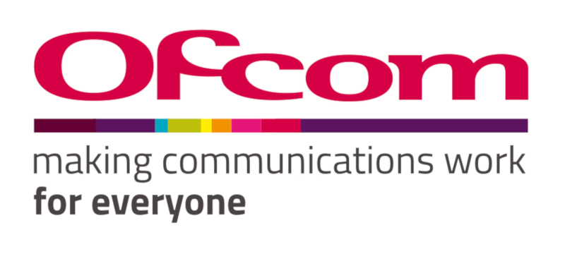 the ofcom Logo is red with rainbow highlights
