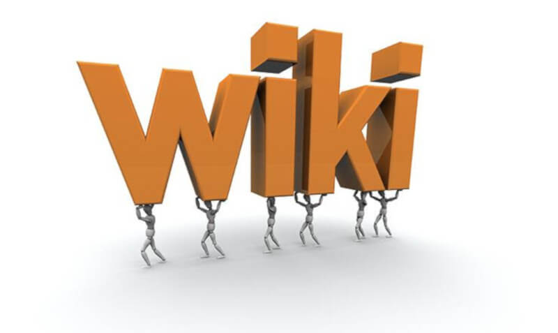 A 3D rendering of the word Wiki carried by six miniature mannequins