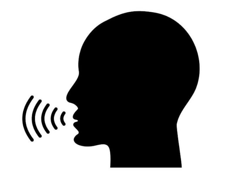 A graphical representation of a bald silhouette with half circles echoing from the mouth