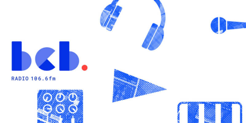 A graphical representation of all things radio related tinted blue on white background