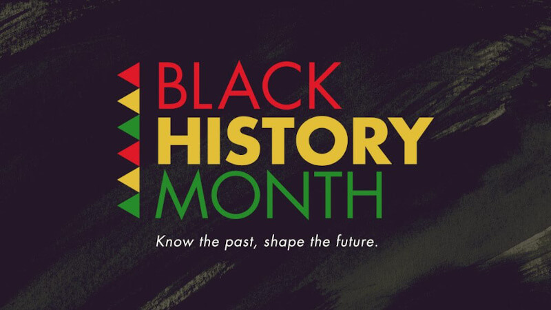 Black history month logo with red, green and yellow triangles on its side, the words, Know the past, shape the future underneath it