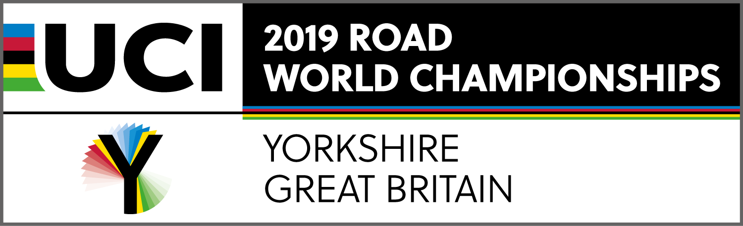 Logo for 2019 UCI Road World Championships, an icon of a capital letter Y rotating in red, green and blue