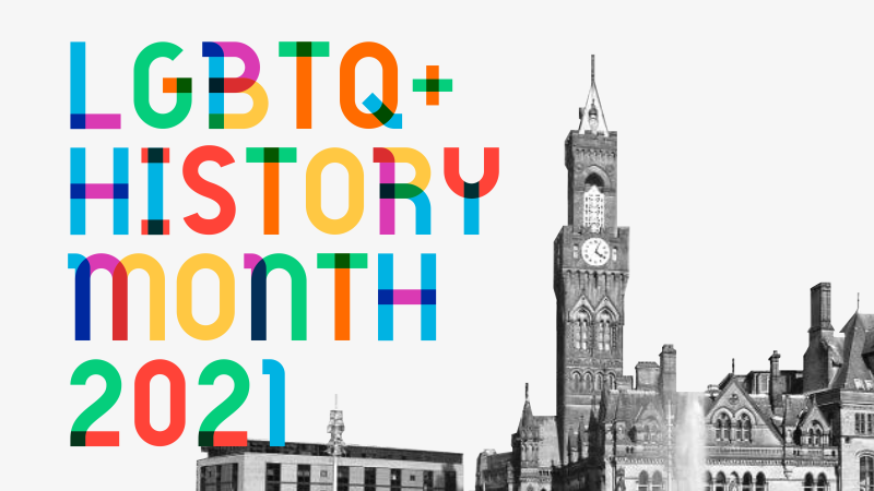 LGBT History Month 2021 logo using the Gilbert opensource colorfont over a black and white photo of the Bradford clocktower