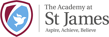 A largely white logo of the Saint James Academy with a school crest icon of a white dove over a pale blue and aubergine colour background