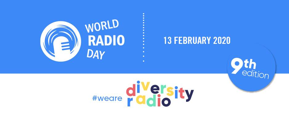 world radio day 2020 blue logo with colourful text that spell out we are diversity